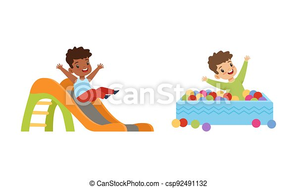 ábra, csúszás, gyerekek, móka, pocsolya, karikatúra, gyerekek, birtoklás, játszótér, játék, vektor, herék, kevés, lefelé, színes, állhatatos, csúszó - csp92491132