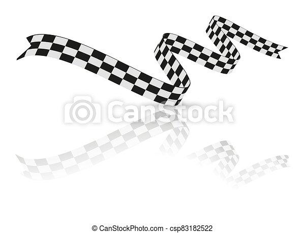 ábra, fehér, tarka, ribbon., lobogó, vektor, versenyzés - csp83182522