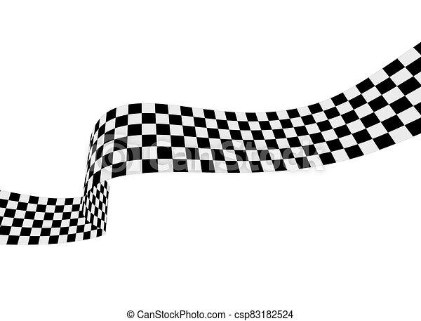 ábra, fehér, tarka, ribbon., lobogó, vektor, versenyzés - csp83182524