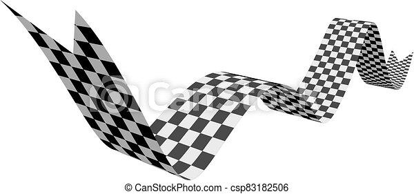 ábra, fehér, tarka, ribbon., lobogó, vektor, versenyzés - csp83182506
