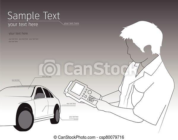 ábra, rendbehozás, szerelő, technikus, autó, autó - csp80079716