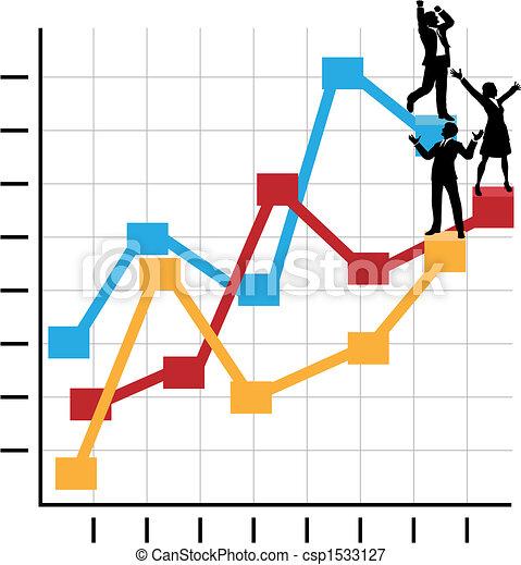 álló, ügy, siker, emberek, diagram, növekedés, ünnepel - csp1533127