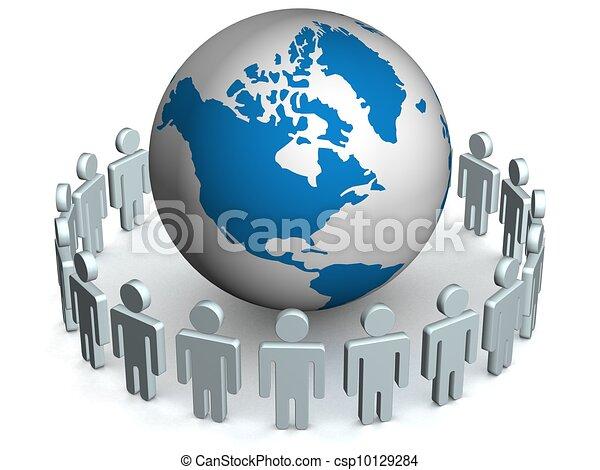 álló, csoport, image., emberek, 3, kerek, globe. - csp10129284