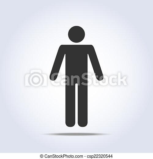álló, icon., vektor, emberi, ábra - csp22320544