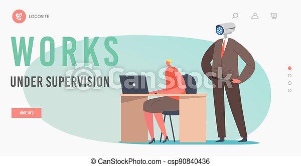 áll, munka, fej, leszállás, ellenőrzés, template., video, ellenőrzés, fényképezőgép, főnök, oldal, munkavállaló, mögött, egyesített, alatt - csp90840436