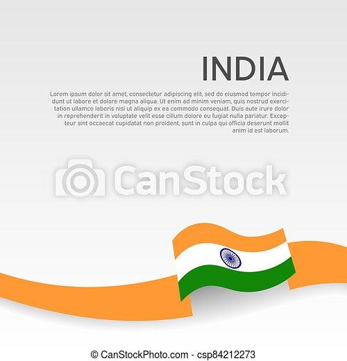 állam, lakás, vektor, hullámos, indiai, poster., fedő, szalag, hazafias, befest, design., nemzeti, india, háttér., transzparens, white lobogó - csp84212273