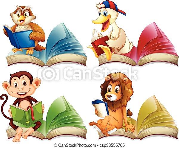 állatok, előjegyez, felolvasás, vad - csp33555765