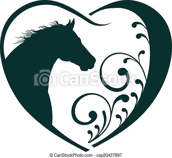 állatorvos, szív, ló, love. - csp20437897