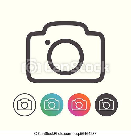 állhatatos, áttekintés, egyszerű, jelkép, fényképezőgép, tervezés, ikon - csp56464837