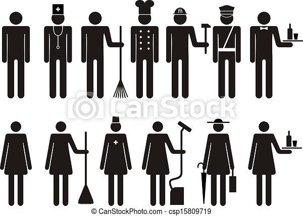 állhatatos, alak, ikonok, emberek, munka, foglalkozás - csp15809719