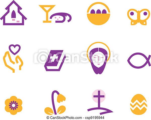 állhatatos, bíbor, (, elszigetelt, kereszténység, ), fehér, húsvét, ikon - csp9195944