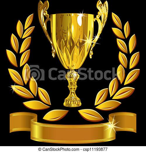 állhatatos, csésze, siker, arany, koszorú, nyerő, vektor, black háttér, borostyán, fényes, szalag - csp11193877