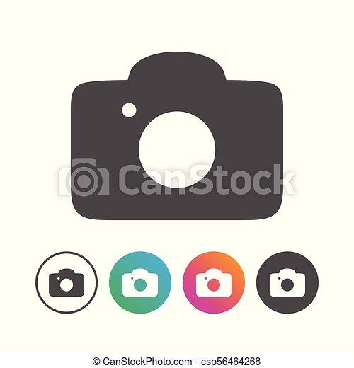 állhatatos, egyszerű, jelkép, fényképezőgép, tervezés, ikon - csp56464268