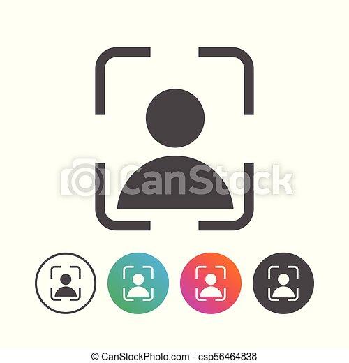 állhatatos, egyszerű, jelkép, tervezés, portré, ikon - csp56464838