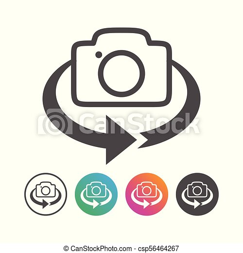 állhatatos, egyszerű, megfricskáz, fényképezőgép, tervezés, 360, ikon - csp56464267