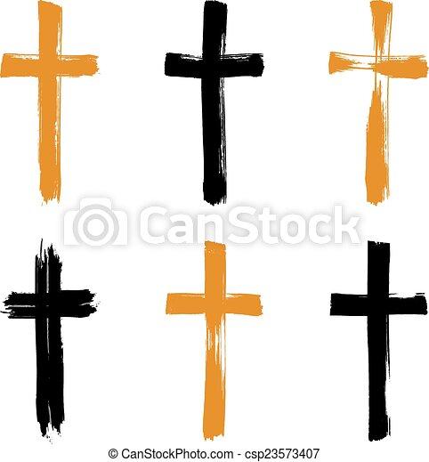 állhatatos, grunge, collectio, ikonok, kereszt, sárga, hand-drawn, fekete - csp23573407
