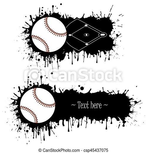 állhatatos, grunge, kéz, baseball, húzott, szalagcímek - csp45437075