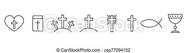 állhatatos, icons., áttekintés, keresztény, vallás, ikonok - csp77094152