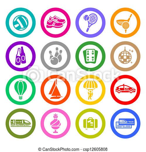 állhatatos, &, ikonok, szünidő utazik, pihenés - csp12605808