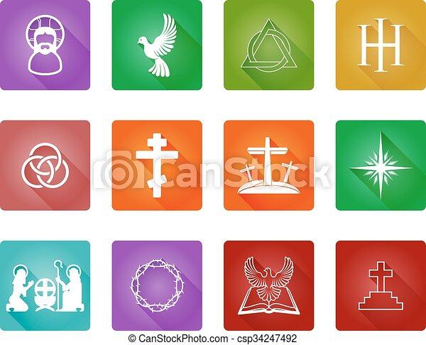 állhatatos, keresztény, ikon - csp34247492
