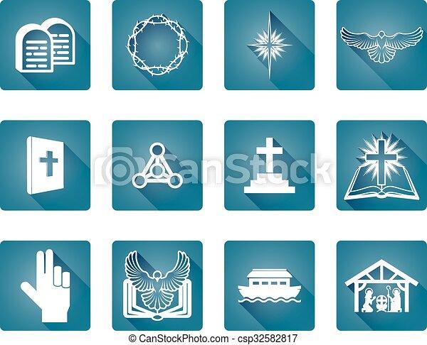 állhatatos, keresztény, ikon - csp32582817