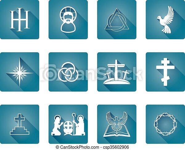 állhatatos, keresztény, ikonok - csp35602906