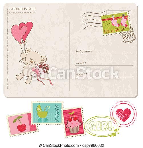 állhatatos, levelezőlap, köszönés, topog, csecsemő lány - csp7986032