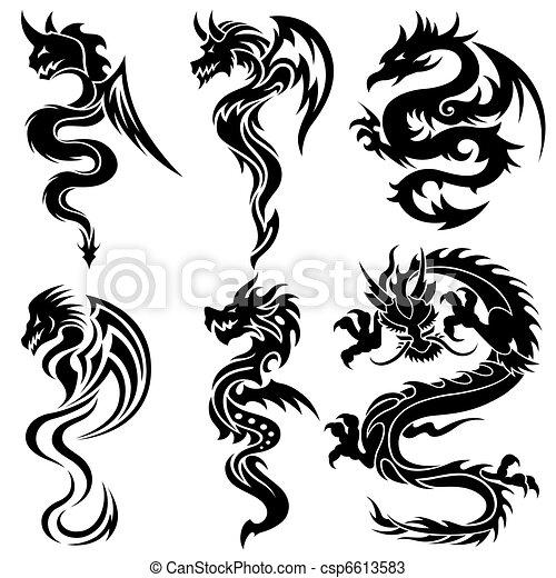 állhatatos, sárkányok, kínai, törzsi - csp6613583