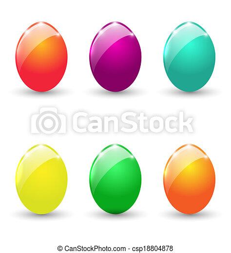 állhatatos, színes, ikra, elszigetelt, háttér, fehér, húsvét - csp18804878