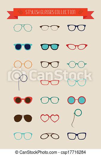 állhatatos, szüret, csípőre szabott, retro, szemüveg, ikon - csp17716284