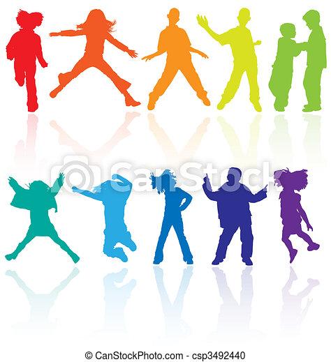 állhatatos, tánc, színezett, visszaverődés., tizenéves, ugrás, körvonal, vektor, feltevő - csp3492440