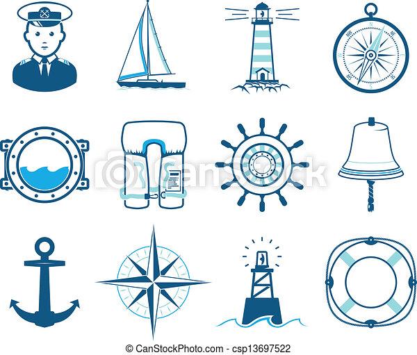 állhatatos, tenger, vitorlázás, ikonok - csp13697522