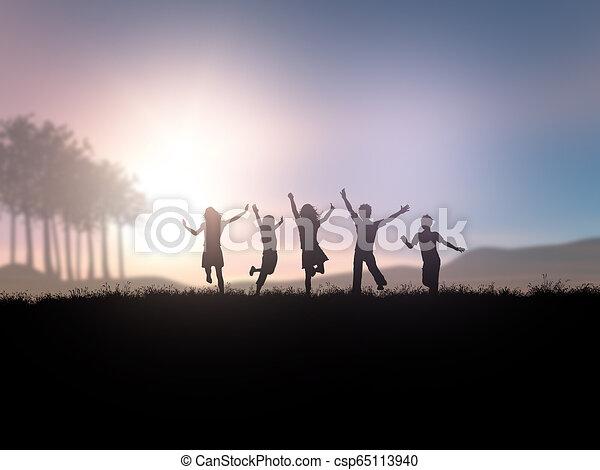 árnykép, játék, napnyugta, gyerekek, táj, 3 - csp65113940