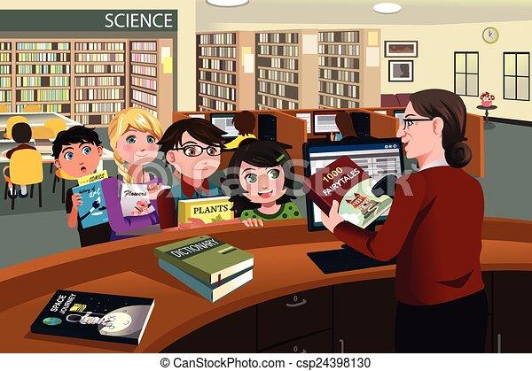 átvizsgálás, gyerekek, előjegyez, könyvtár, ki - csp24398130
