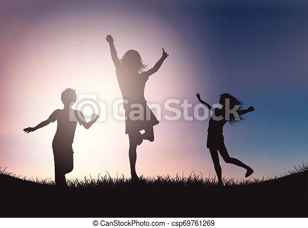 ég, ellen, gyerekek, körvonal, napnyugta, játék - csp69761269