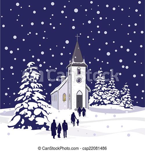 éjszaka, tél, templom - csp22081486