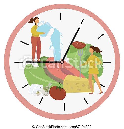 élénkítő, water., tárcsa, táplálék., élelmiszer, vektor, leány, ablak, vesztes, menstruáció, concept., illustration., osztott, egészséges, módszer, metabolism., megszakított, rögzítés, súly - csp87194002