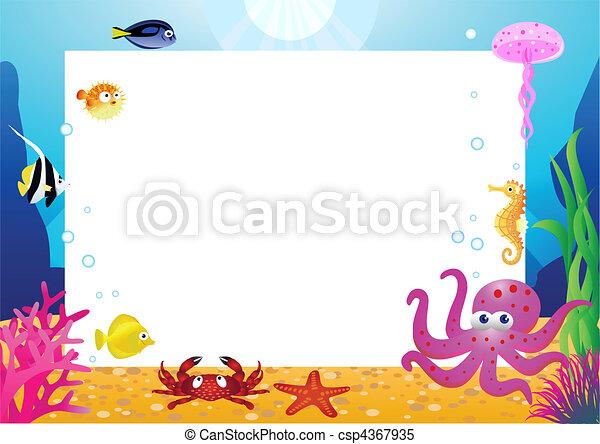 élet, tiszta, karikatúra, tenger, hely - csp4367935