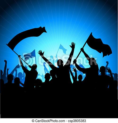 éljenzés, kihallgatás, zászlók - csp3805383