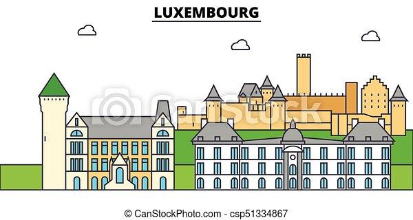 építészet, tervezés, épületek, láthatár, vektor, landmarks., elszigetelt, luxembourg., város, ábra, editable, strokes., árnykép, egyenes, lakás, concept., panoráma, ikonok, utcák, állhatatos, táj - csp51334867