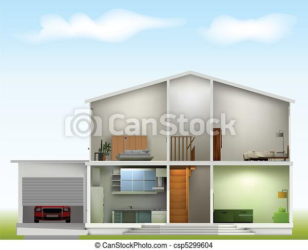 épület, belföldiek, elvág, ég, ellen - csp5299604