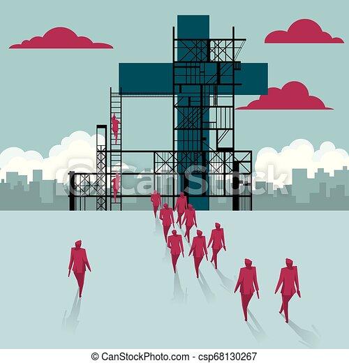 épület, csoport, kereszt, sétált, házhely., businessmen, alatt, construction. - csp68130267