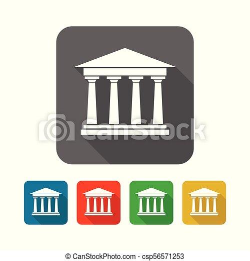 épület, derékszögben, akadémia, jelkép, díszlet tervezés, ikon - csp56571253