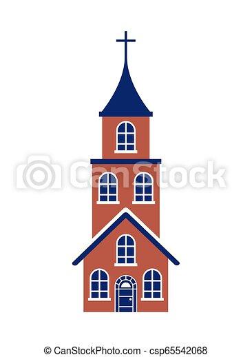 épület, fehér, kereszt, háttér, templom - csp65542068