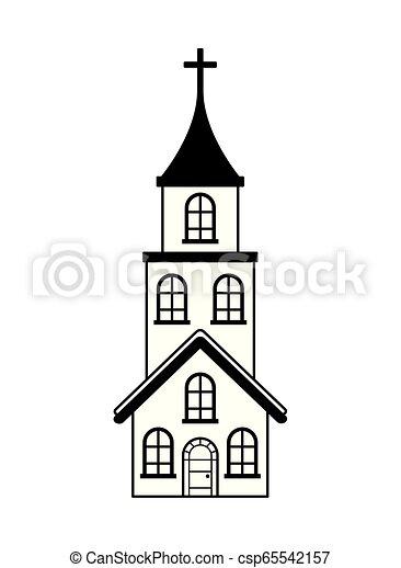 épület, fehér, kereszt, háttér, templom - csp65542157