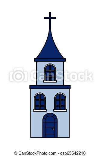 épület, fehér, kereszt, háttér, templom - csp65542210