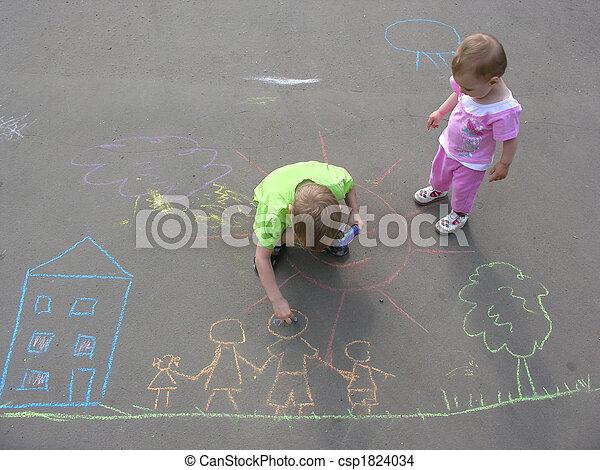 épület, gyerekek, család, aszfalt, rajz - csp1824034