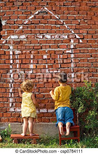 épület, gyerekek, rajz, két - csp0784111