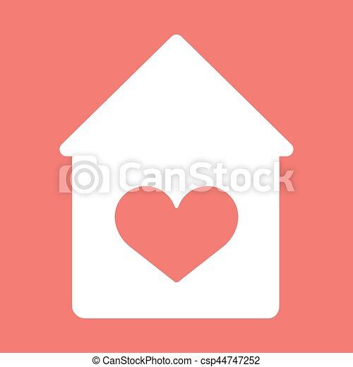 épület, icon., vektor, szív - csp44747252