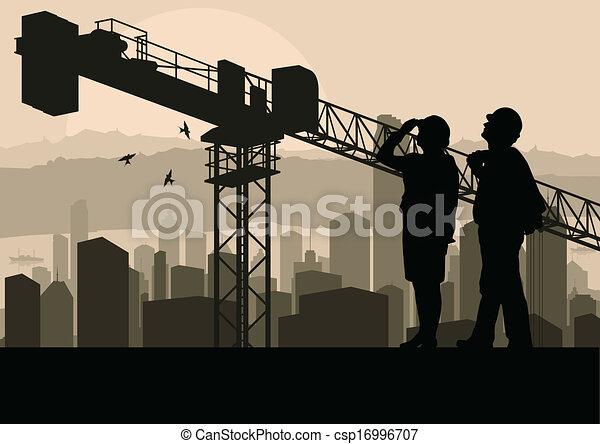 épület, ipari, őrzés, eljárás, házhely, ábra, menedzser, szerkesztés, vektor, felhőkarcoló, háttér, daru, konstruál - csp16996707